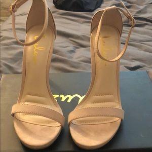 Lulus Blush Suede Ankle Strap Heel Size 5.5